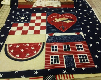 """Heart of America panels, 2 repeats of each, 1 yd length x 44"""" wide, 100% cotton"""