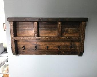 Dark Walnut Rustic Coat Rack with Hooks, Coat rack, rustic coat rack, rustic coat hanger, coat hooks, wall hooks, wooden coat rack