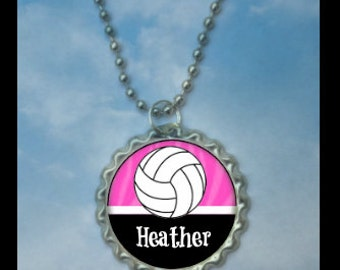 1 Personalized Pink Volleyball Bottlecap Necklaces, 15 color choices, volleyball gifts, volleyball gift, volleyball necklace, team gift