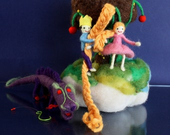 Storytelling Rapunzel Mobile, fairy tale Waldorf Playscape, hanging ornament, Waldorf ornament, golden hair, felted story, prince minature