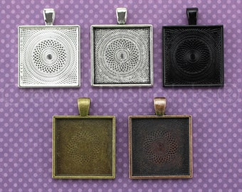 "50 - 1"" Square Pendant Trays - Vintage Style - Antique Bronze Copper Silver Colors - Pendant Blanks Bezel Settings Mix 25mm 1 Inch"