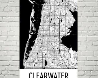 Clearwater Map, Clearwater Art, Clearwater Print, Clearwater FL Poster, Clearwater Wall Art, Florida Gift, Map of Florida, Florida Poster