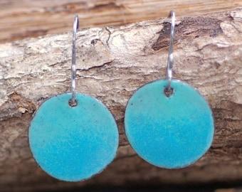 Medium Enamel Copper Disc Earrings Aqua