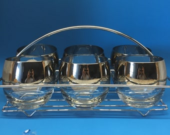 Vintage Silver Ombre Roly Poly Glasses in Chrome Carrier, Queen's Lusterware, Dorothy Thorpe Style Roly Poly, Mad Men