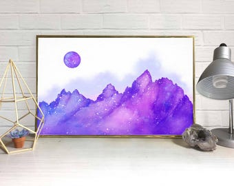 Mountainscape with Moon Watercolor (Purple)