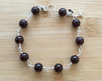 Garnet Bracelet, Sterling Silver Bracelet, January Birthstone Bracelet, Wire Wrapped Jewelry, Garnet Jewelry, Beaded Gemstone Bracelet