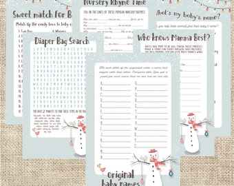 Snowman Baby Shower game pack