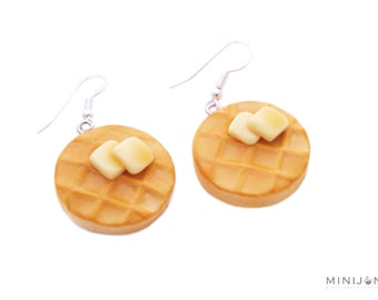 Waffle Earrings - Miniature Food Jewelry, Polymer Clay Food. Maple Syrup Waffles. Butter Waffles. Breakfast Jewelry.