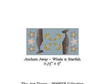 """Anchors Away ~ Whales & Starfish ~ 11.75"""" x 6"""" Paper Pattern for PUNCH NEEDLE by The Art Tramp/HOOKER Collection"""