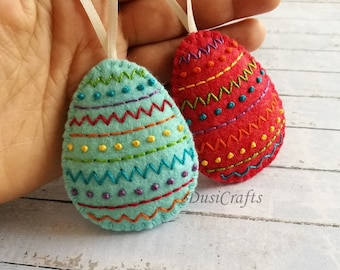 Felt Easter decoration, Colorful Embroidered Decorative Easter eggs, Easter decorations, Easter basket decor Rainbow Easter Ornament - 1 egg