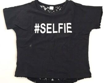 Black #SELFIE Lace Back Tshirt Size 5/6T