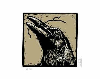 artisan raven digital linocut fine art print