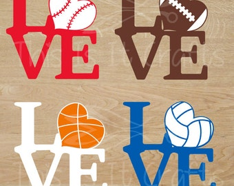 Sports Love Decal - Baseball, Basketball, Football, Volleyball - Car Decal - Water Bottle Decal