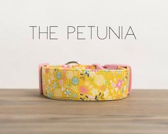 "Modern Mustard Vintage Floral Inspired Dog Collar ""The Petunia"""