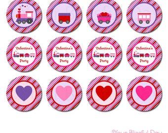 PRINTABLE Valentine's Train (Girl) Party Circles