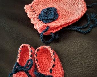 Crochet Infant Bonnet and Slippers