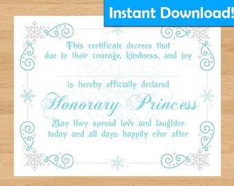 INSTANT DOWNLOAD! Frozen/Elsa Inspired Printable Princess Certificate - For Coronation Ceremony, Birthday Gift, Party Favors