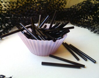 30 tubes beads-glass - black matte-31-34 mm long and 3 mm wide