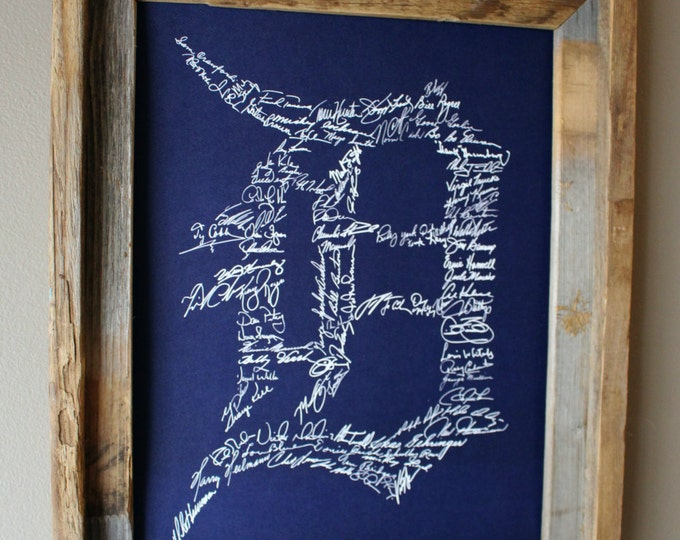 Signatures of Detroit Tigers History (Dark Blue) - Unframed