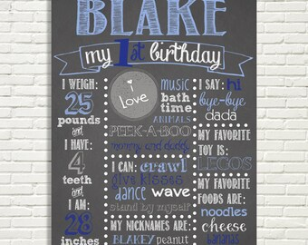"""First Birthday Chalkboard Sign 16x20"""" Poster Blue Navy Gray White or *Choose Your Own Colors*  Digital File ONLY"""