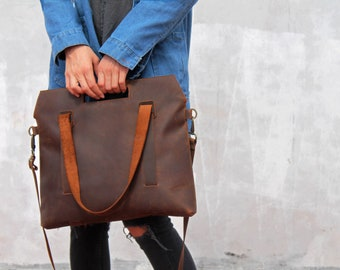Leather tote bag, leather bag, brown leather tote bag, leather crossbody bag, leather shoulder bag, handmade leather bag, brown leather bag