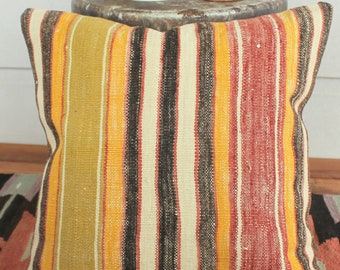 40cm Vintage kilim cushion cover handwoven - rustic striped