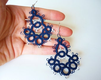 Tatted Bell Earrings / Handmade lace Jewelry / Gift ideas // Beautiful and elegant / frivolité Jewellery Blue / wine / customise it / color
