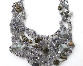 Free form peyote stitch silver bib necklace, wearable art, romantic fashion,  boho style, statement jewelry, Silver night II