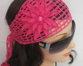 Women Head wrap Pink Lace Head scarf, Boho Summer Headband, Bohemian Headband, Lace Boho Head wrap Headband Women Fashion Accessories