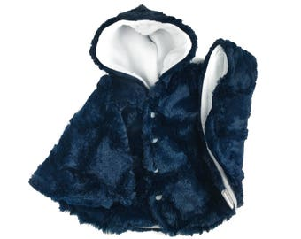 Size 1/2 navy cuddle minky fleece car seat poncho - made to order - winter kids children's poncho -infant poncho - 0-6 months