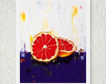 Grapefruit Print, Citrus Fruit Art, Kitchen Decor, Small Wall Art, Fine Art Print, Purple and Red, Original Artwork, Colorful Still Life