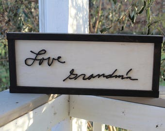 Your Hand Writing, Actual Handwriting, In Memory Of, Personalized Ornament, Actual Sketch,  3D Cut Out,  Sign in Frame, FootstepsinthePast