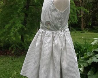 Vintage Girls Sleeveless Cotton Summer Dress Sundress Size 6 Kate Greenaway Dress
