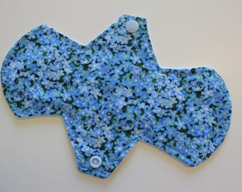 "8"" liner, reusable cloth pantyliner - forget me nots"
