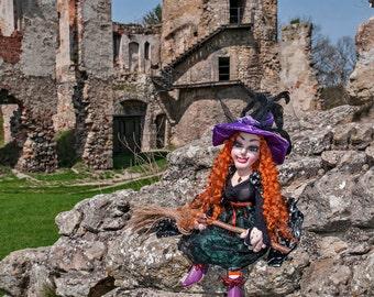 Art Doll Fabric Doll Handmade Fantasy Doll, Cloth Rag Doll Fantasy Whimsical Doll, Art Doll Witch Doll Woodland Doll FairyTale Doll Magical