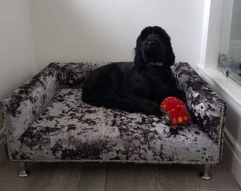 Extra Large Dog Bed with Memory Foam, Studs and Chrome Legs, Luxurious Crushed Velvet Dog Bed, Bespoke, Handmade