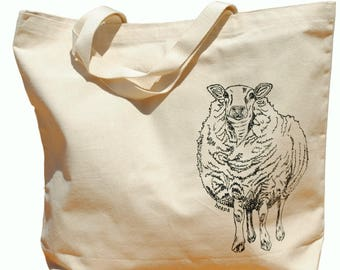 Large Beach Tote - Farm Animal Sheep Tote Bag - Screen Printed Heavy Weight Canvas Beach Bag - Animal Beach Bag - Funny Retro Hipster Hippie