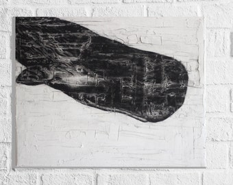 "Sperm Whale Charcoal Drawing Art Original 20 x 16"" Canvas"