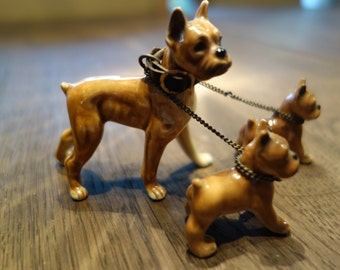 Vintage Ceramic Boxer with Pups on Leash