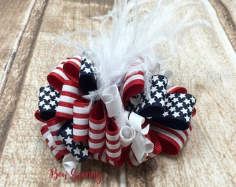 Memorial Day Bow, Red White and Blue Bow, Fourth of July Bow, July 4th Bow, July Fourth Bow, Patriotic Bow, Over the Top Bow, Flag Bow