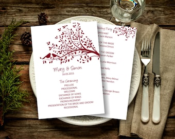 Burgundy Wedding Program Template, Birds on a Tree Wedding Program, Download Instantly wedding program template, digital PDF, you print, DIY