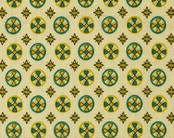 1 Yard CHICOPEE Circle Cross PWDS030 Green Teal Cream Denyse Schmidt Free Spirit Quilting Sewing Fabric