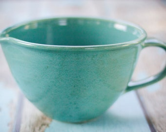 Aqua Handled Mixing Bowl with pouring spout-- hand thrown ceramic stoneware pottery -- ceramic mixing bowl handled mixing bowl