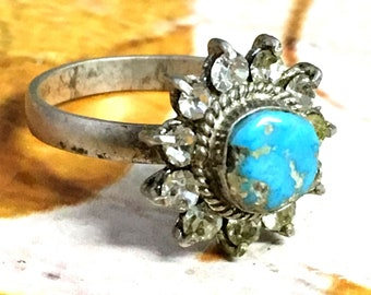 handmade 925 sterling silver ring natural BLUE TURQUOISE STONE