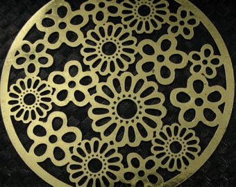 Watermarks prints 2 - color old gold - Diam: 32mm - floral background # T26