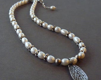 Freshwater pearls with fine silver handmade leaf