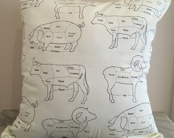 Cream Butcher Meat Canvas Cushion Pillow Cover