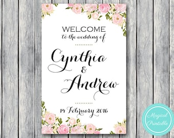 Pink Peonies Flower Personalized Welcome wedding sign, Printable Wedding Sign, Wedding Decoration Sign, Printable sign DIY Print wd67 WS19