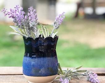 Ceramic Vase. Vase. Flowers. Planter. Blue. Mother's Day. Gift.