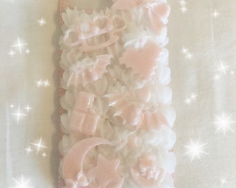 Kawaii ready to ship white and pink iPhone 7+/8+ decoden case